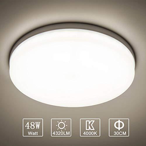 Yafido LED Deckenlampe Ultra Slim 48W 4320Lm UFO LED Panel 4000K Neutralweiß LED Deckenleuchte für Wohnzimmer Schlafzimmer Flur Büro Küche Küche Balkon und Esszimmer Nicht-dimmbar Ø30 cm