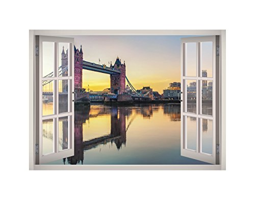 Tower Bridge London River Thames View Window 3D Wall Decal Art Removable Wallpaper Mural Sticker Vinyl Home Decor West Mountain W172 (MEDIUM (32''W x 23''H))