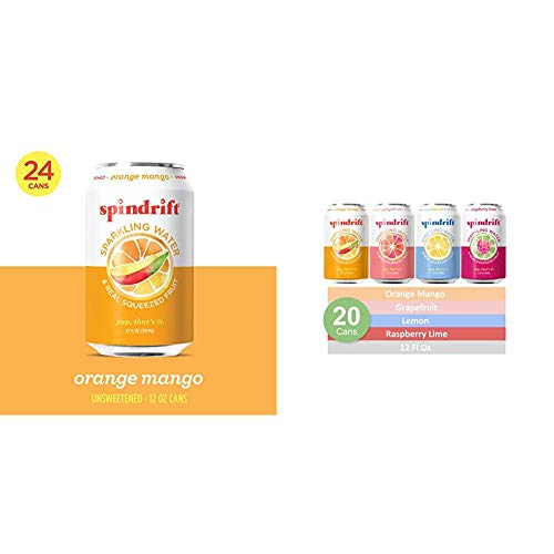 Spindrift Sparkling Water, Orange Mango Flavored, 12 Fl Oz Cans, Pack of 24 & Sparkling Water, 4 Flavor Variety Pack, 12 Fl Oz Cans, Pack of 20 Seltzer Water Cans