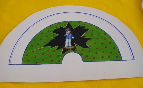 Antiguo País en papel - ACUARELA Original para ABANICO - Tema niño...
