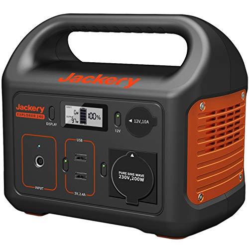Jackery Tragbare Powerstation Explorer 240 - Mobiler Stromspeicher & Solar Generator mit 230V Steckdose + USB für Reise, Camping, Garten und als Notstromaggregat - 240 Wh Lithium-Ionen-Batterie