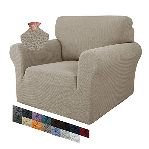 MAXIJIN Creative Jacquard Chair Covers for Living Room, Super Stretch Non Slip Chair Slipcover with Arms Dogs Pet Friendly 1-Piece Elastic Sofa Couch Protector Armchair Cover (1 Seater, Khaki)