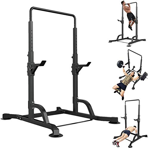 Qianglin Power Tower Pull-up Chin Up Bar,Multifunctional Height Adjustable Dip Station Barbell Rack Bench Press Squat Rack for Home Gym Fitness Exercise Strength Training Equipment