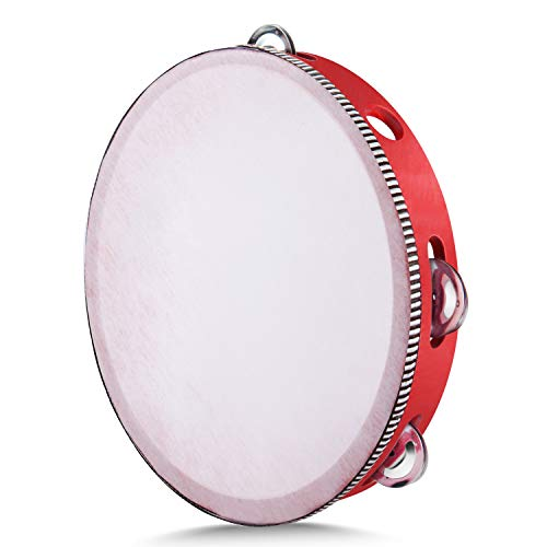 "Flexzion Red Handheld Tambourine 10"" Inch Single Row 8 Pair Jingles (Red) - Hand Held Percussion Drum Moon Musical Tambourine with Ergonomic Handle Grip for Kids Adults Classroom Gift KTV Party"