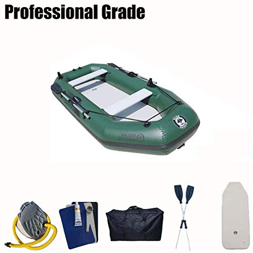 Fengyj Kayak Inflable Persona con 3 Paddle, Mejor Barco Inflable Fuerte, Ideal para los Lagos, la Pesca y Mar Shores PVC,Dark Green,230 * 128cm