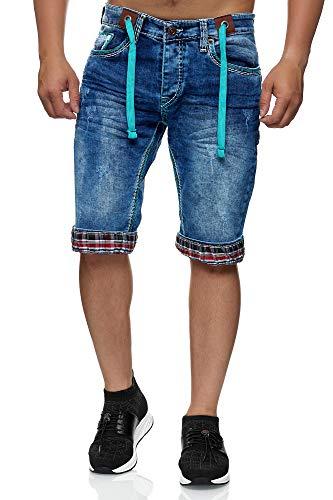 L.gonline Herren Jeans Bermuda für den Sommer | Shorts mit Taschen und dicken Nähten | Kurze Hose für Herren | Freizeithosen im modernen Design | Destroyed Jeans...