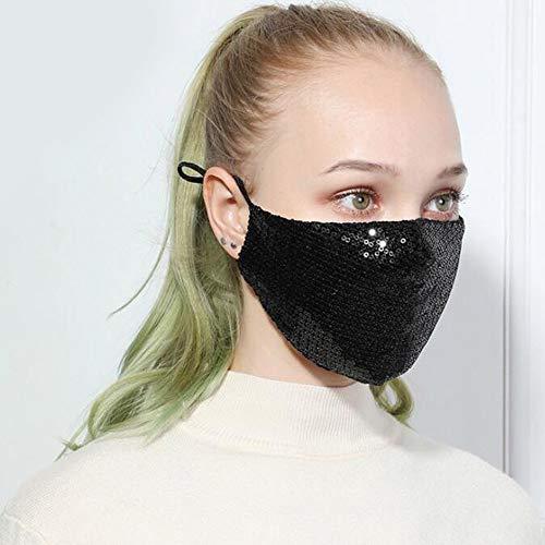 Yienate Máscara de lentejuelas brillantes, máscara de Halloween, fiesta de fiesta, discoteca, máscara de moda, decoración para mujeres y niñas (negro)