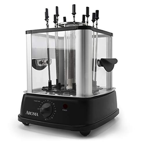 Aroma Housewares ABT-106 Auto Rotating Kebab Maker, 10 Skewers, Black