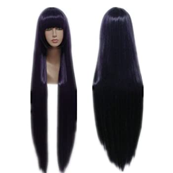 COSPLAZA Cosplay Wigs Long Straight Deep Purple Anime Hair Halloween Party Role Play Props with Flat bangs