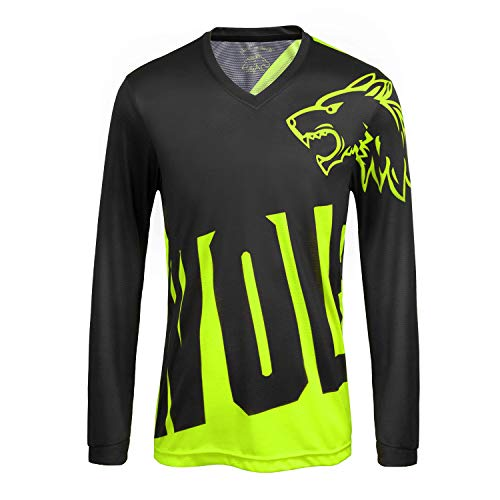 Men's Cycling Jerseys Tops Biking Shirts Long Sleeve Breathable Quick Dry Outdoor MTB Cycling Clothing for All Sports Training Bicycle Jacket, (green,S)