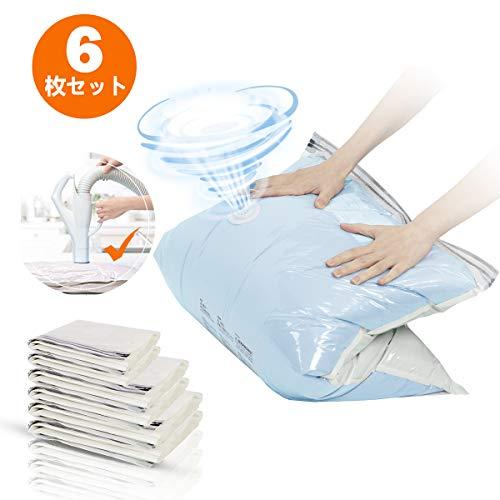 TAILI圧縮袋 衣類圧縮袋 布団圧縮袋 6枚入(S M L各2枚) 省スペース 掃除機不要 カビ ダニ対策 防塵 防湿 抗菌効果 再利用可能
