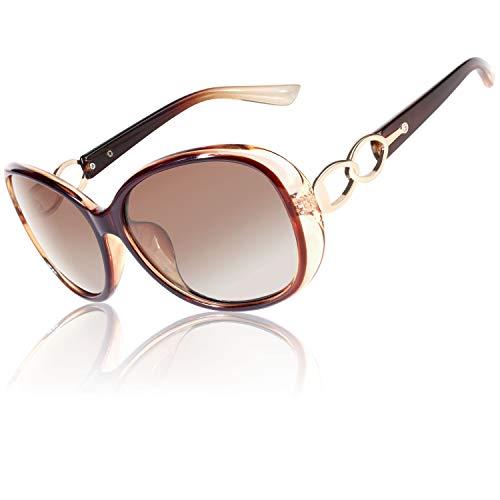 CGID Retro Großer Rahmen Designer Oversized Damen Sonnenbrille für Frauen Polarisiert Sonnen Brille UV Sonnenbrille Brille mit Strasssteinen Farbverlauf Brown Gläser MJ85