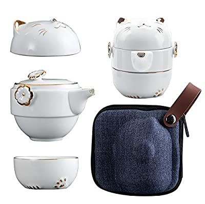 BAILINGTANG Lucky Cat Porcelain Tea Mug with Strainer Filter and Lid Portable Ceramic Portable Tea Coffee Mug Set with Teapot and 2 Teacup for Office Travel and Home (White)