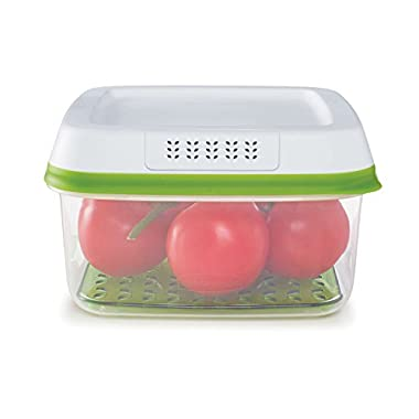Rubbermaid FreshWorks Large Square Produce Saver Food Storage Container, 11.1 Cup, Green
