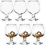 ZOOFOX Set of 6 Brandy Glasses, 12 oz Cognac Wine Snifter Whiskey Glasses, Crystal Small Glassware Drinking Cups for Beer, Wine, Bourbon, Cognac, Brandy, Beverage, Whiskey and Bar Decor ( Clear )