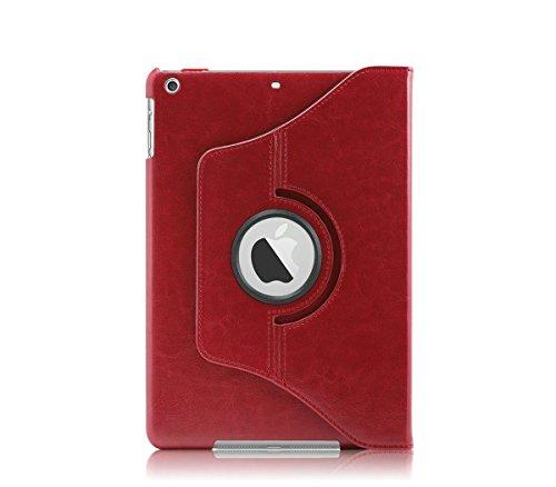 Khomo PU-leer 360 graden draaibare standaard beschermhoes met magnetische Smart Cover voor nieuwe Apple iPad Air, rood
