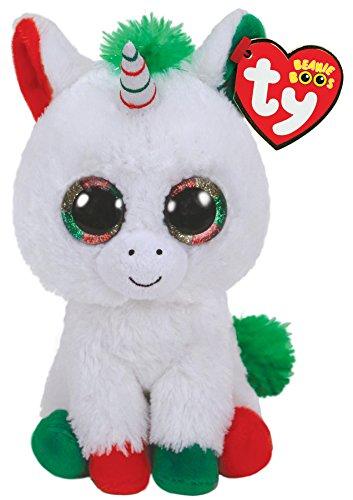 Ty Beanie Boos Candy Cane-Unicornio 23cm-Navidad, color blanco (36425TY) , color/modelo surtido