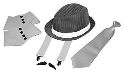 Foxxeo 35021 | Deluxe Gangster Set | Trouser Suspenders, Tie, Hat–Gaiters–Beard