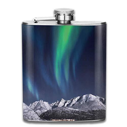 Edelstahlflaschen 7 Unzen Nordlichter Aurora über Fjorde-Berg bei Nacht Norwegen Solar Whisky Flask Flachmann-Leck-Wein Männer Frauen