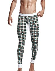 mens long underwear with small checks green