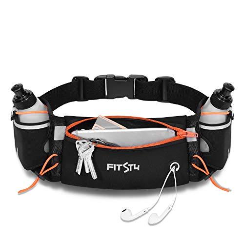 FitsT4 Hydration Running Belt Adjustable Waist Pack, Runner Waist Bag with 2 Water Bottles, Water Fanny Pack for Women Men Fuel Belt for Roadwork, Marathon, Cycling
