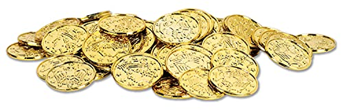 Beistle 100 Piece Gold Plastic Pirate Treasure Embossed Coins Western Theme Supplies Casino Party Favors, 1.5'
