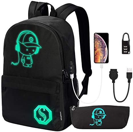 School Backpack Anime Luminous Backpack College Bookbag Anti Theft Laptop Backpack with USB product image
