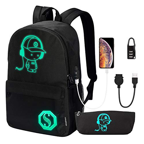 School Backpack, Anime Luminous Backpack College Bookbag Anti-Theft Laptop Backpack with USB Charging Port and Lock & Pencil Case