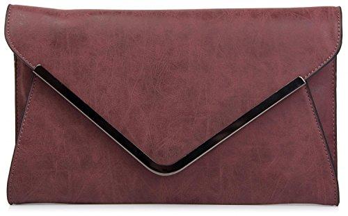 styleBREAKER Bolso de Mano Clutch, Bolso de Fiesta en diseño de sobre con Bandolera y Pasador para Llevar, señora 02012047, Color:Burdeos-Rojo