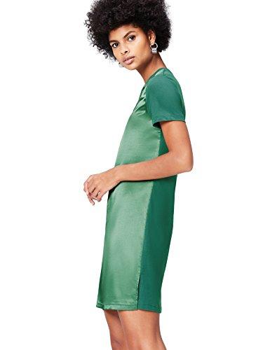 Marchio Amazon - find. Vestito di Satin a Manica Corta Donna, Verde (Khaki), 40, Label: XS