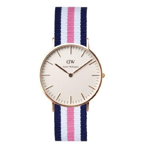 Daniel Wellington Classic Southampton, Reloj Azul-Rosa-Blanco/Oro Rosado, 36mm, NATO, para Mujer y Hombre