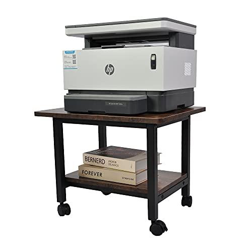 プリンター台 プリンターラック サイドテーブル 高さ38cm 二段 デスクワゴン プリンターカート デスク下に収納 プリンタースタンド キャスター付き 丸角設計 オフィス/ホーム用 (ダークブラウン)