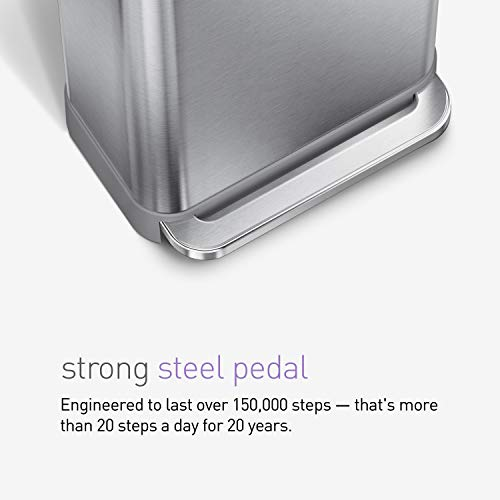 simplehuman 55 Liter Rectangular Hands-Free Kitchen Step Trash Can with Soft-Close Lid, Brushed Stainless Steel