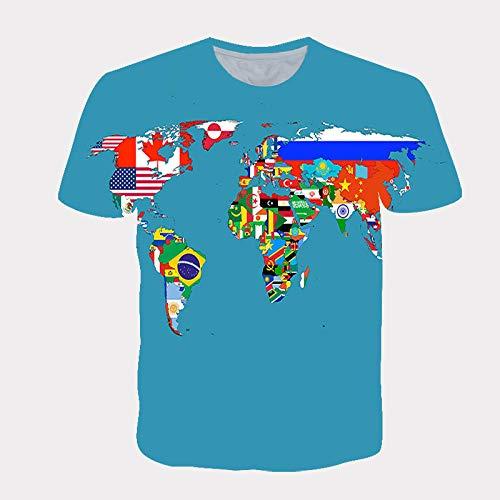 LIUBAOBEI 3D Camisetas para Hombre,Patrón De Mapa Azul Verano 3D Camiseta Estampada Hombres Mujeres Moda Streetwear O-Cuello Manga Corta Hip Hop Camiseta Camisetas Harajuku Ropa-4XL