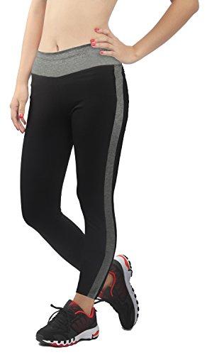 4How Sportwear Leggings Damen Lange Schwarz/Grau Sporthosen Frauen Running Pants,S