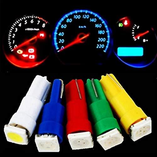 Luces $ luz 20pcs 58 70 73 74 5050 LED 1 lámpara Galiatura de automóvil Bombilla Bombilla de Instrumento Luz de Instrumento 12V Azul Rojo Verde Blanco Amarillo (Emitting Color : White)