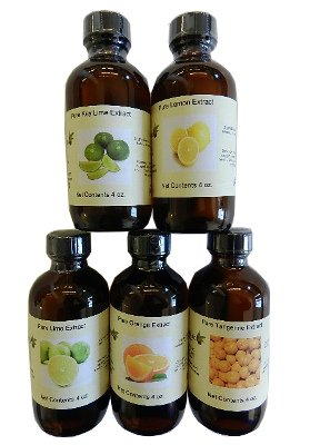 OliveNation Set of 5 Citrus Extracts - Set of 5 x 4 ounces bottles - lemon, lime, key lime, orange, tangerine - baking-extracts-and-flavorings