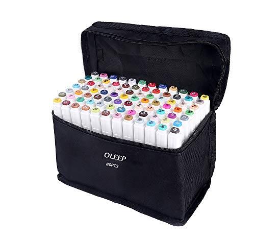 80 Pcs Color marcadores y una bolsa de negro El Sketch tiene dos puntas estándar: amplia y fina AP no tóxico, se seca sin ácidos. Ajuste perfecto para artistas y Crafters. El oleep Twin Marker es un instrumento ideal para estudiantes de arte