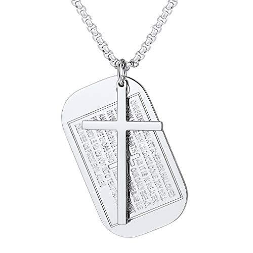FaithHeart Medalla Cuadrado con Letras Grabadas Bíblicas y Cruz Collar de Acero Inoxidable con Cadena Ajustable 50cm Joyería Católica Hombre Mujer