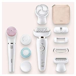 Braun Silk-épil 9 Flex 9100 Beauty-Set– Epilierer für Frauen mit flexiblem Kopf für eine einfachere Haarentfernung, weiß/gold
