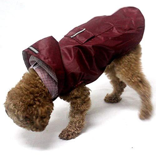 Xinger Pet Dog Imperméable Réfléchissant Vêtements Imperméables Combinaison À Capuche pour Petits Grands Chiens Cape De Pluie Golden Retriever Labrador, vin Rouge, 6XL