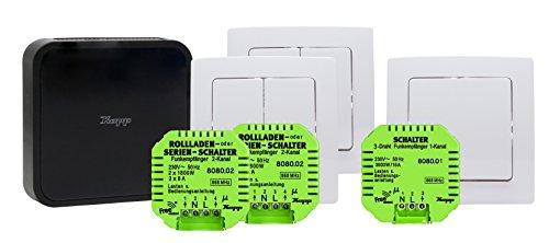 Kopp 992000002 Smart Home Start Kit Inkl. Gateway smarte Jalousien-/Rollladen- und Lichtsteuerung, Free-control 2.0 Schwarz/ Weiß