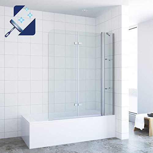 AQUABATOS® 150 x 140 cm Duschtrennwand für Badewanne Badewannenfaltwand mit Festteil und Eckregalen aus 5mm Echtglas Nano Beschichtung, 150cm breite 140cm höhe faltbar Duschwand Glas Badewannenaufsatz