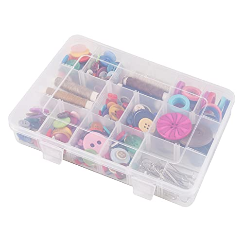 18 Grids Plastic Organizer Box with Dividers, Exptolii Clear Compartment Container Storage for Beads Crafts Jewelry Fishing Tackles, Size 7.9 x 6.2 x 1.2 in
