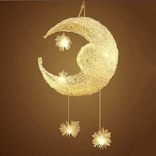 Luna creativa y estrellas de hadas del LED lámpara colgante Araña Luz de techo Niños Decoración del dormitorio de los Niños (luz cálida)