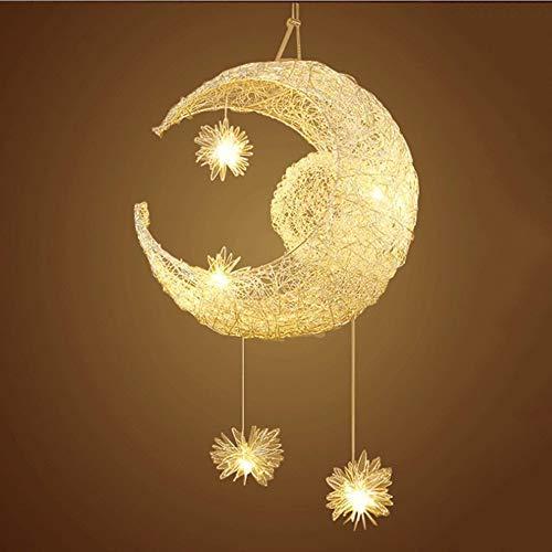 lampadario cameretta bambini,Moon and Stars Fairy LED Lampada a sospensione Lampadario a soffitto Plafoniera per Decorazione camera da letto (Warm White Light) [Classe di efficienza energetica A]