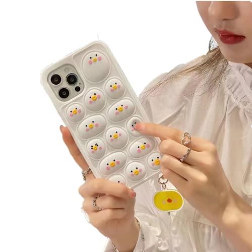 Funda de silicona con diseño de animal, para teléfono con diseño de burbujas de empuje, juguete sensorial, a prueba de golpes, para Apple iPhone (blanco-1, iPhone 6 Plus/6S Plus 5.5 pulgadas)