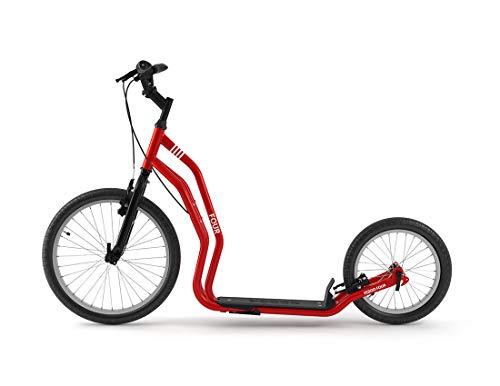 Yedoo Four Tretroller - bis 150 kg, Kickscooter mit Luftreifen 20/16 - Dogscooter für Erwachsene, Cityroller mit Ständer und verstellbaren Lenker, rot