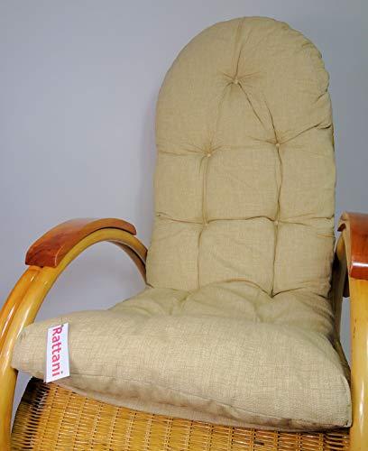 Rattani Auflage/Polster für Schaukelstuhl, Liegestuhl, Ersatzpolster Gr. 130 x 50 x 12 cm, Nuevo Loneta beige - Made in EU