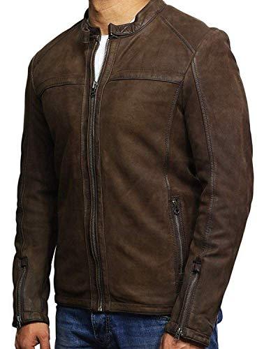 BRANDSLOCK Mens Leather Suede Jacket Genuine Slim Fit Designer Look Brown (5X-Large)